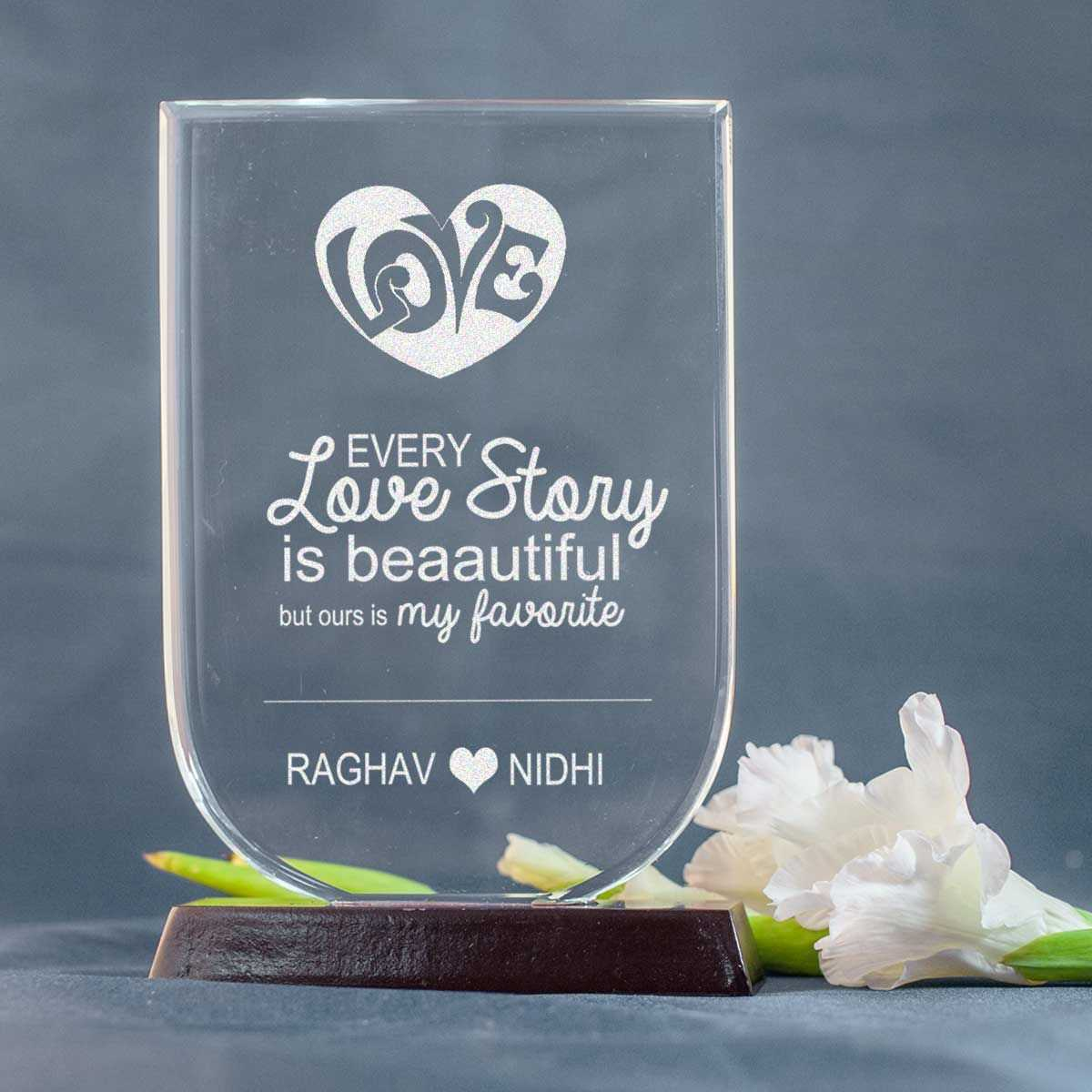 engraved crystal for husband on valentines day