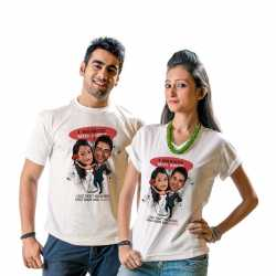 Caricature t-shirts for couple on Valentine day