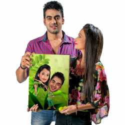 Green Couple - Caricature Canvas