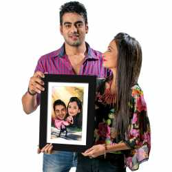 Happy Couple - Caricature Photo Frame