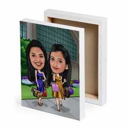 Shopping Buddies - Caricature Canvas