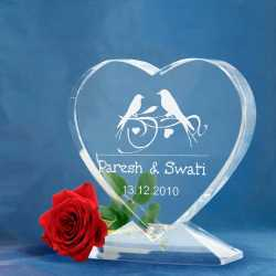 Love Birds - Heart Shaped Crystal