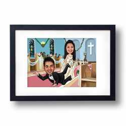 valentine themed personalized caricature frame